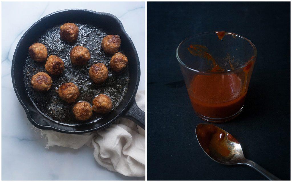 Cheesy Gochujang Ramen with Meatballs
