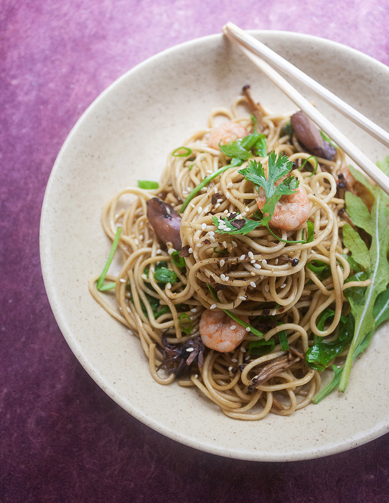 Fried Soba Noodles with Arugula