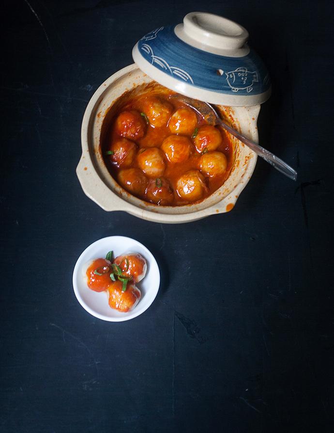 Beef Tapioca Balls with Tteobokki Sauce