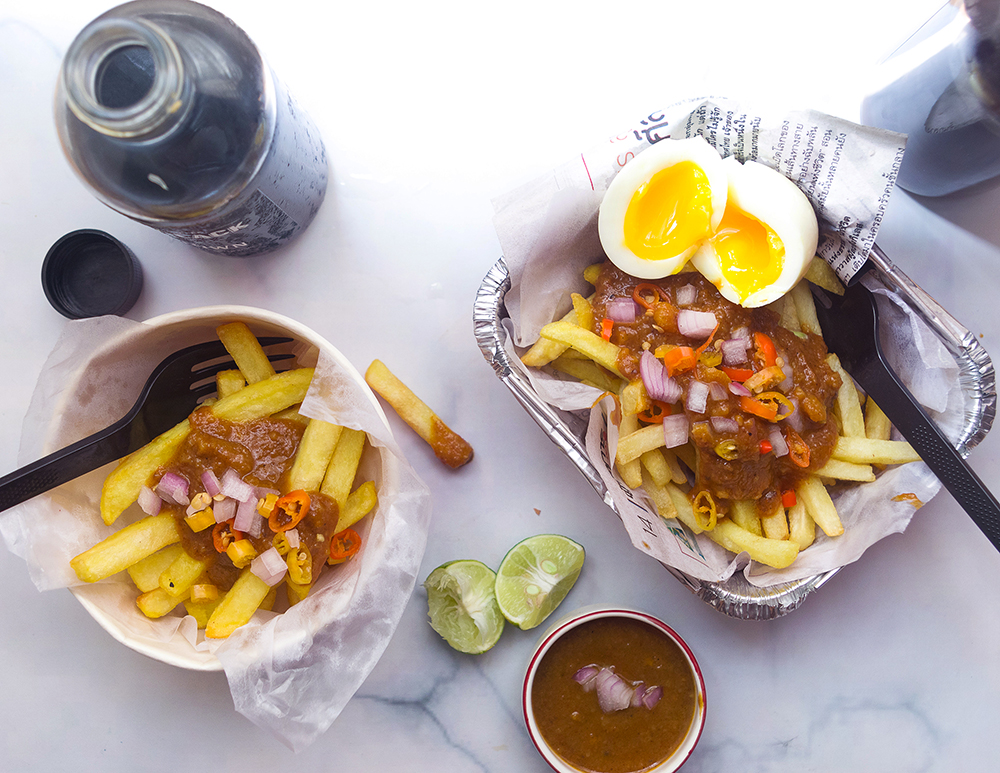 Peanut Sauce French Fries with Soft-Boiled Egg