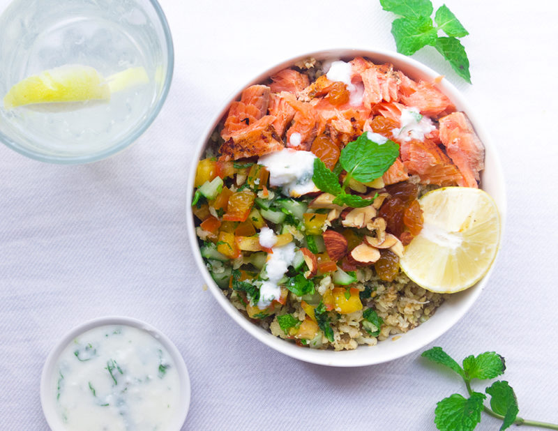 Salmon and Cauliflower Rice Bowl