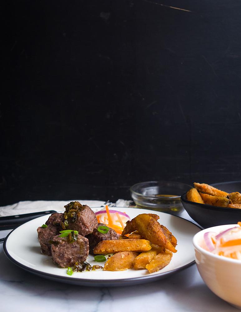 Saikoro Steak with Charred Scallion and Ponzu Sauce
