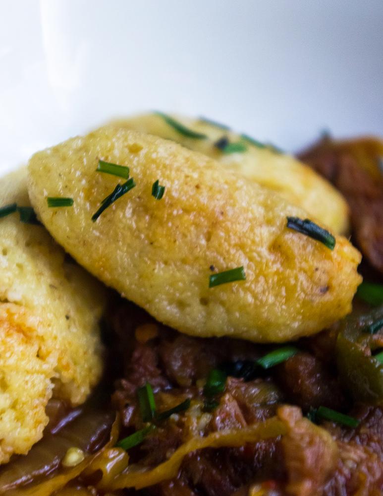 Semolina dumpling with beef stew