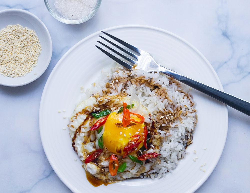 Crispy Fried Eggs with Kecap Manis