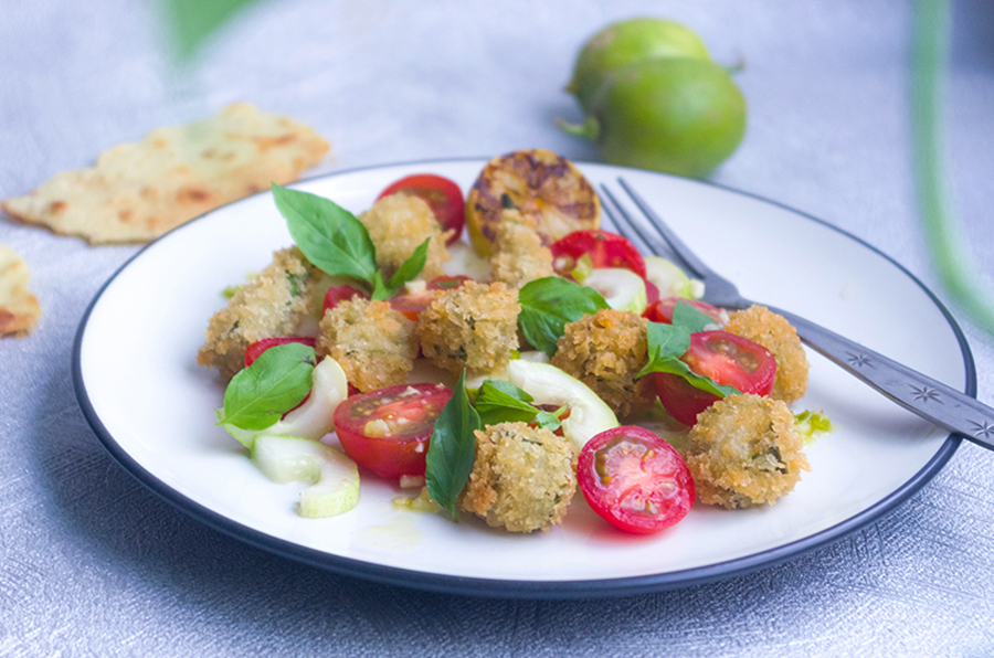 Fried Okra and Tomato Salad