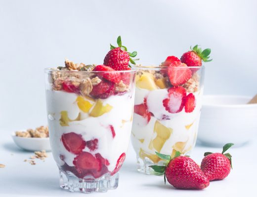 Mango and Strawberry Yogurt Parfaits